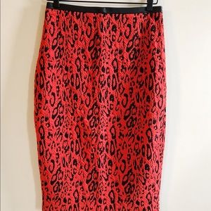 NWT Express Red & Black Leopard Jacquard Skirt